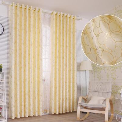 金黄色现代简约窗帘布料定制半遮光卧室阳台客厅高档大气落地成品