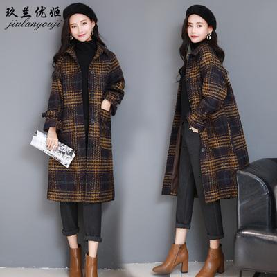 呢子大衣女格子中长款韩版2018春新款森系复古小个子宽松毛呢外套