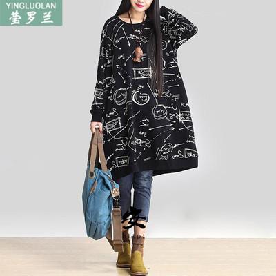 韩版秋装中长款200斤胖mm棉麻长袖连衣裙加大加肥宽松特大码女装
