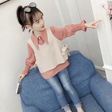 女童洋气衬衫套装秋装2018新款韩版女孩长袖上衣春秋儿童时尚童装