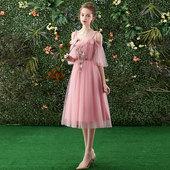 伴娘服女2019新款 姐妹团仙气质礼服 显瘦伴娘裙粉色中长款 韩式修身