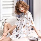 夏天学生ins宽松韩版 冰丝大码 胖mm 夏季睡衣女士纯棉薄款 两件套装图片