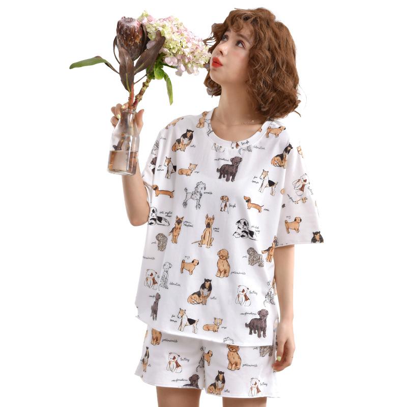 夏季睡衣女士纯棉薄款两件套装夏天学生ins宽松韩版冰丝大码胖mm