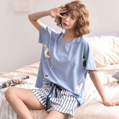 睡衣女夏纯棉短袖两件套装可外穿宽松大码韩版清新学生少女家居服