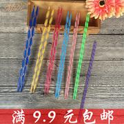 炫彩水晶针双头双尖亚克力水晶毛线棒针毛衣针编织工具织围巾针