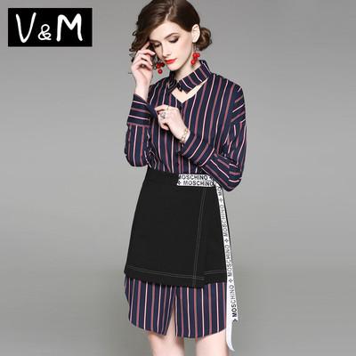 春装2018新款中长款长袖心机竖条纹衬衫超短裙两件套bf时尚套装女