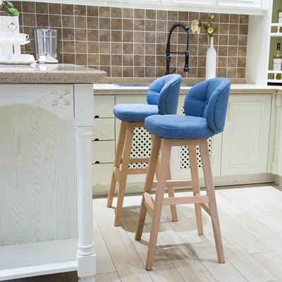 南皇吧台椅家用高脚凳现代简约酒吧椅子实木旋转吧凳靠背创意吧椅