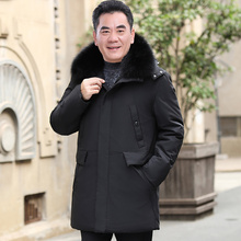 Middle-aged and Old-aged Down Garment Men Increase Middle-aged and Long-style Rex Rabbit Hair Collar Winter Clothing New Father's Thicker Coat