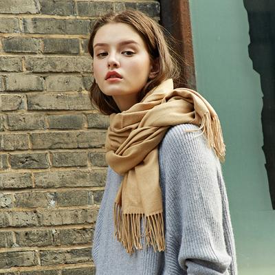 韩版秋冬季女学生情侣百搭围巾保暖厚围脖纯色流苏时尚长款仿羊绒