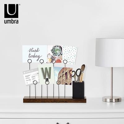 加拿大umbra组合桌面相框 木质陶瓷桶收纳多功能组合相片架