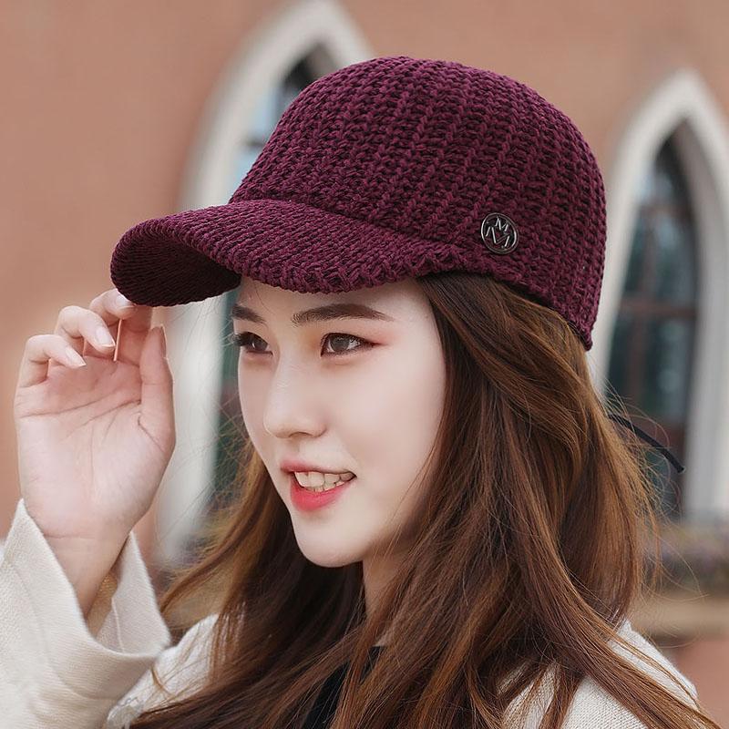 帽子女韩版针织毛线骑士帽鸭舌帽男女款情侣早秋马术帽透气防晒帽