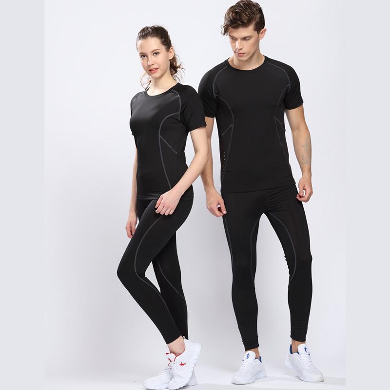 田径训练服男套装紧身跑步篮球服女内搭打底健身服五分短裤短袖衣