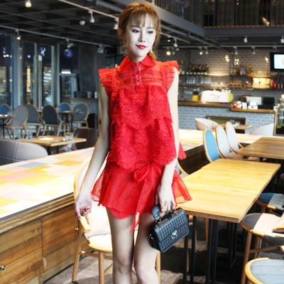高端超仙欧根纱刺绣娃娃上衣+短裤两件套红色夏季套装2018名媛风