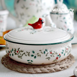North American cardinal holly berry European ceramic tableware soup pot soup bowl hand-painted embossed painted with cover heat
