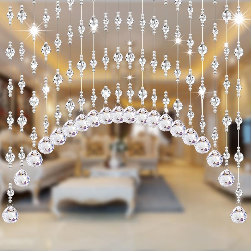 水晶珠帘卫生间门帘装饰挂帘隔断帘玄关屏风客厅卧室吊帘子成品