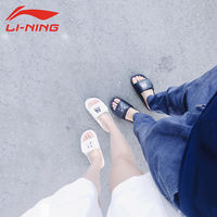 Li Ning slippers hot men and women shoes summer new hot theme splash ink light Velcro couple models sports sandals and slippers