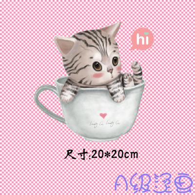 可爱猫咪水杯热转印A级过粉胶印贴PET可熨烫衣服图案贴高弹烫画贴