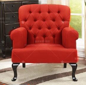 新古典布艺单人沙发美式卧室沙发欧式酒红色洽谈单人老虎椅样板间