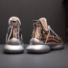 男个性 欧洲站秋季潮流高帮鞋 街头嘻哈厚底增高运动鞋 亮皮银色潮鞋