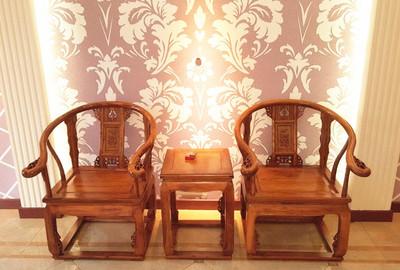 实木仿古太师椅客厅榆木明清仿古家具茶几三件套圈椅茶椅子圆鼓凳