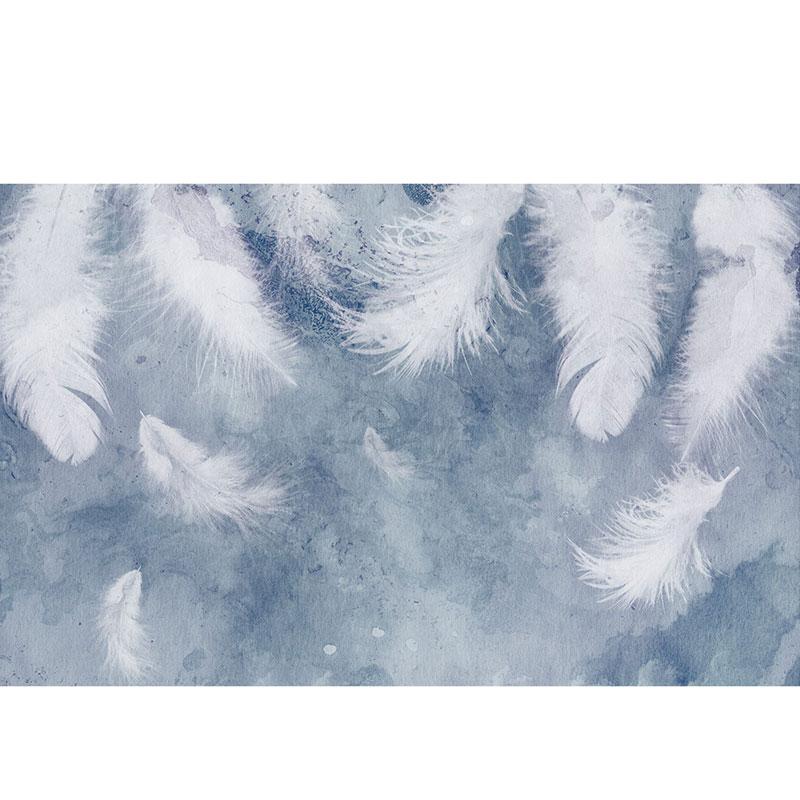 北欧沙发卧室背景影视墙布手绘羽毛小清新壁纸电视背景墙壁画墙纸