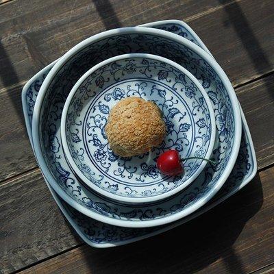 和风四季釉下彩蓝莲花陶瓷盘子创意日式家用餐具手绘圆盘汤盘方盘