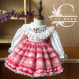Autumn and Winter New Strawberry Lolita Baby Skirt Spanish Palace Princess Skirt Girl Pengpeng Dress Long Sleeves