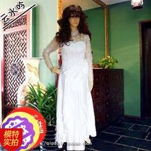 [云水吟]改良白长袖绣花大摆抹胸婚纱礼服新款2013高档女秋装结婚