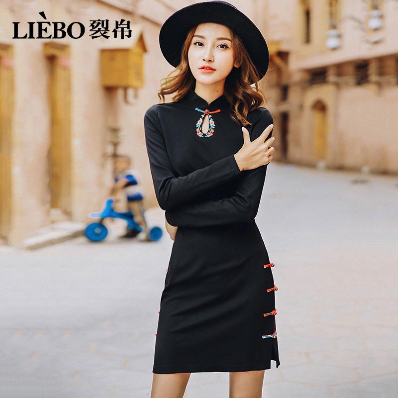 裂帛黑色连衣裙