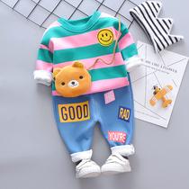 女童洋气套装新款1-3岁2女宝宝秋冬装0儿童4秋季加绒加厚两件套冬