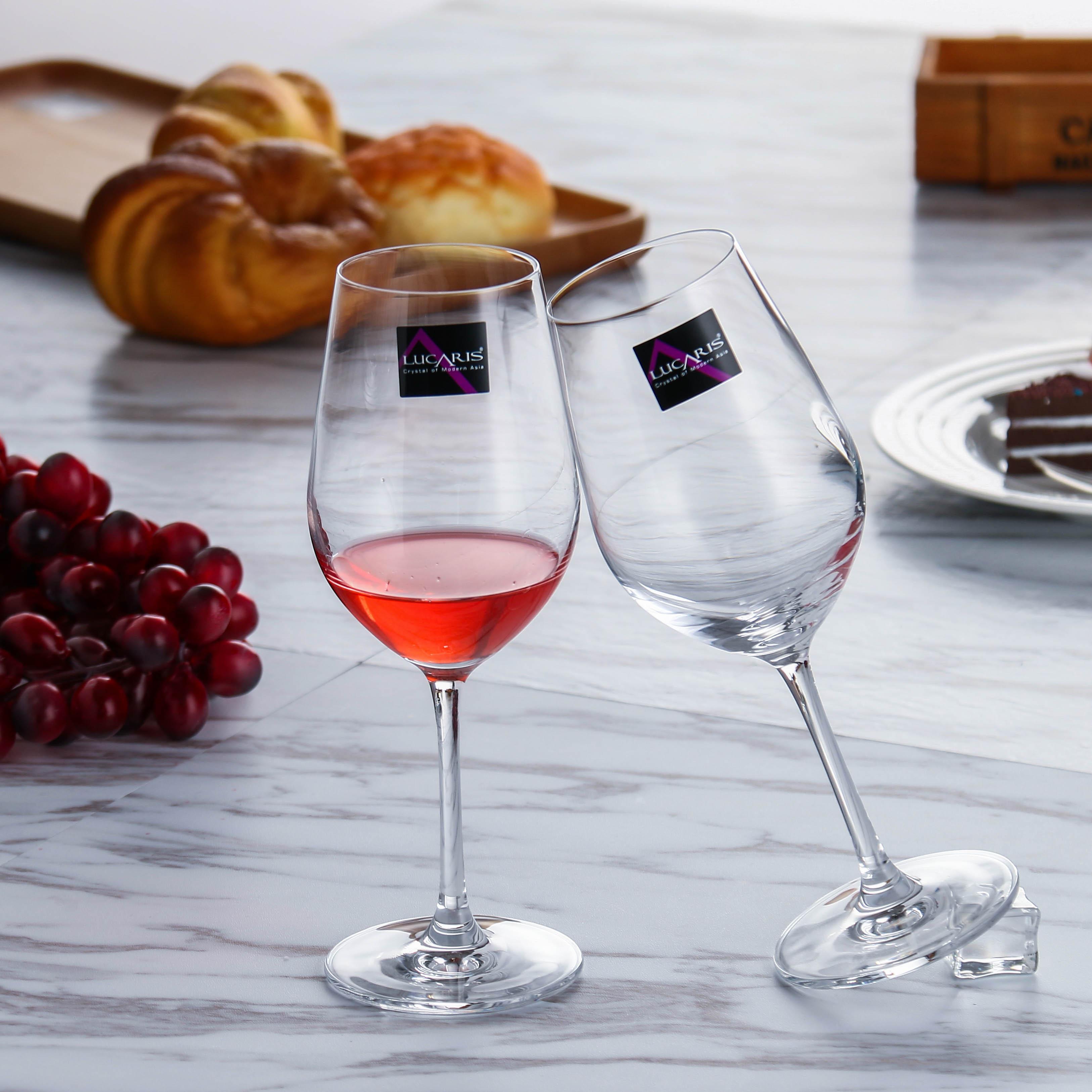Lucaris进口红酒杯 水晶套装家用高脚杯子醒酒器杯架葡萄酒杯6只