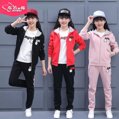 女童秋装2018新款12大童女孩秋季洋气运动服15岁休闲童装三件套装