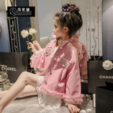 Chimiti Foreign girl leather coat 2019 spring new lapel pearl crown sweet lace girl coat