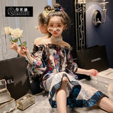 Chimidi 2019 spring dress new children's weary doll shirt girl slack loose one-word shoulder shirt