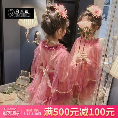 奇米迪 洋气女童连衣裙2019春装新款儿童刺绣收腰纱裙演出公主裙