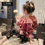 Chimiti Foreign girl shirt 2019 autumn children's ruffled casual striped shirt with doll shirt