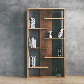 北欧实木书柜极简客厅隔断屏风置物架现代原木展示收纳柜创意书架