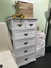 实木复古五斗柜抽屉收纳柜装饰柜简约现代卧室欧美式做旧储物柜子