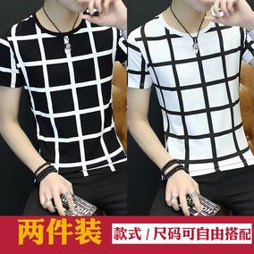 2件装短袖t恤男学生韩版圆领修身个性体恤2018夏季新款半袖打底衫