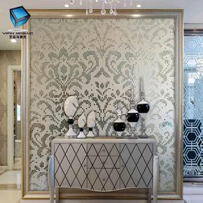 现代水晶玻璃马赛克背景墙拼图瓷砖欧式艺术客厅玄关电视餐厅拼花