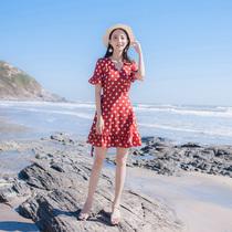 2018夏季新款女装V领气质圆点系带喇叭袖小碎花鱼尾连衣裙夏裙子