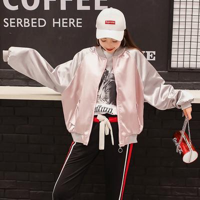 棒球服女春秋季2017新款韩版宽松学生百搭bf原宿风拼色刺绣短外套