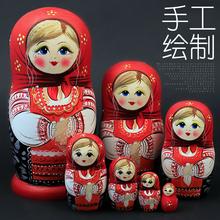 正品俄罗斯特色7层套娃中国风创意抖音礼物木质进口七层玩具清仓
