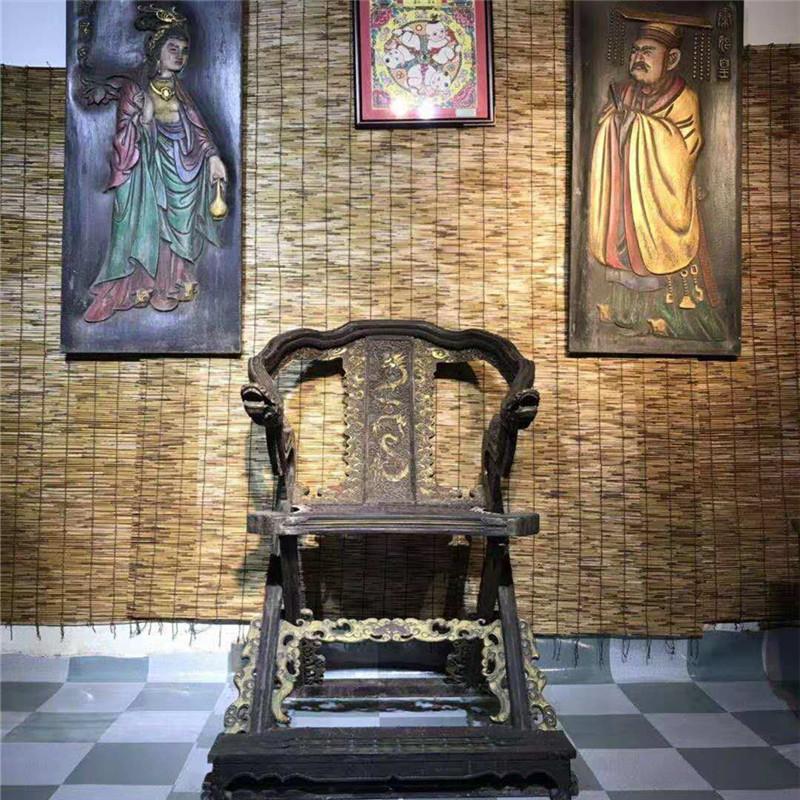 明清古典仿古原木中式圈椅复古太师椅休闲折叠交椅靠背椅实木家具