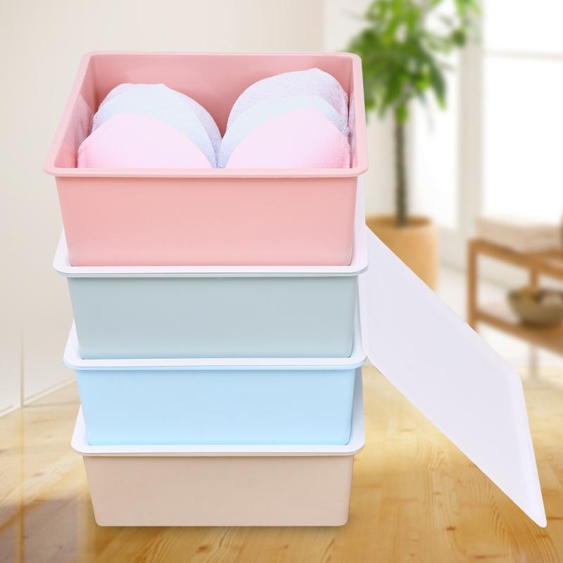 内衣收纳盒塑料桌面文胸内裤袜子储物抽屉式整理箱有盖三件套家用3元优惠券