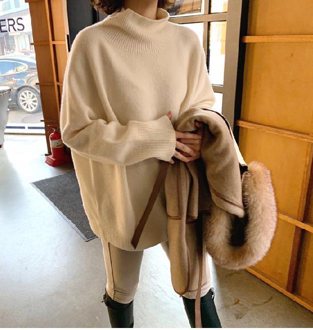 Annadiva韩国官网直邮冬装女装优雅纯色高领插肩袖宽松毛衣羊毛衫