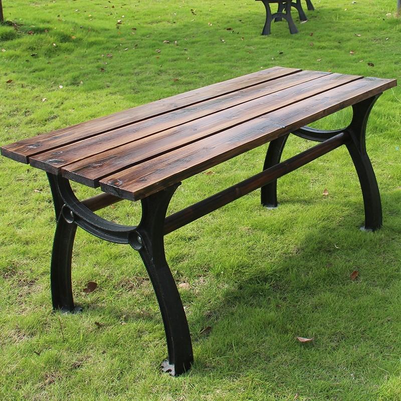 铁艺户外铸铝阳台长桌椅庭院铸铁防腐木公园椅实木桌子休闲组合