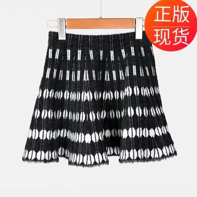 【地球店】秋冬新款黑白波点条纹渐变花纹百褶裙高腰毛针织半身裙