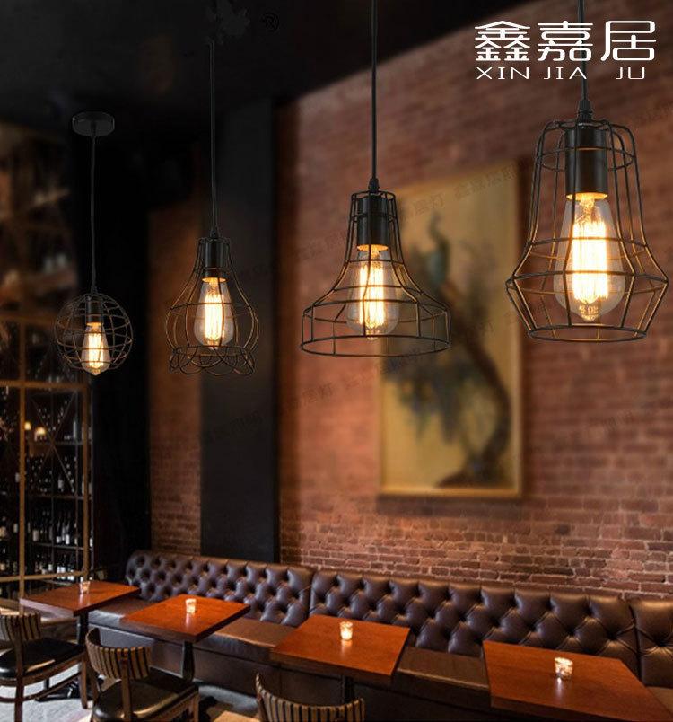 铁艺术吧台吊灯办公室北欧复古工业风鸟笼创意酒吧loft餐厅餐吊灯