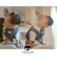 FAFALAB flower too old pet dog cat clothes law fighting pug white shirt vest suit dress bow tie